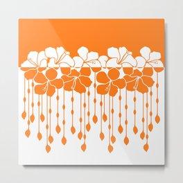 Bead Hibiscus Curtain: Ivory Orange Metal Print