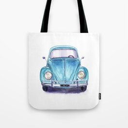 Vintage blue car Tote Bag