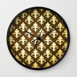 Background with Gold Fleur De Lis Wall Clock