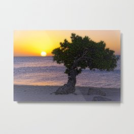 Eagle Beach Sunset in Aruba Metal Print