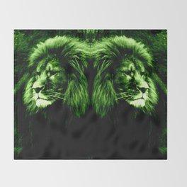 Green LION Throw Blanket
