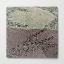 Sea Green Waves on Concrete Metal Print