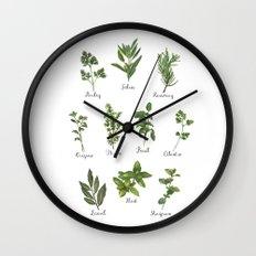HERBS on white Wall Clock