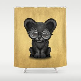 Cute Baby Black Panther Cub Wearing Glasses on Yellow Shower Curtain