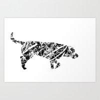labrador Art Prints featuring Labrador Scribble by Jake Stanton