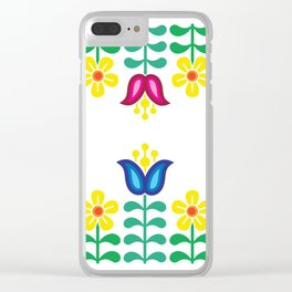 Scandinavian Folk Flowers Clear iPhone Case