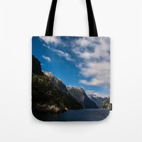 new zealand Tote Bags featuring New Zealand by Michelle McConnell