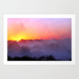 Sunrise with morning fog at a River in Africa  Art Print