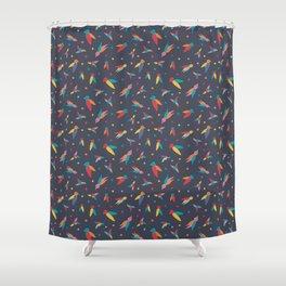 Technicolor Birds Shower Curtain