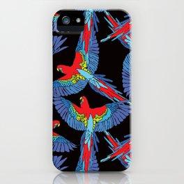 Rainforest Parrot Flock Toss iPhone Case