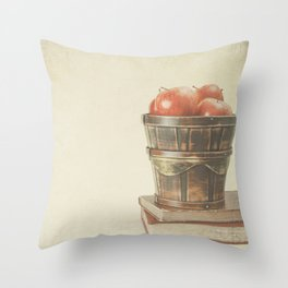 Books and Apples on textured background (Vintage Still Life Photography)  Throw Pillow