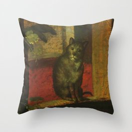 Cat in the art – Aertsen – vegetable and fruit stand- detail Throw Pillow