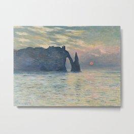 The Cliff, Étretat, Sunset Metal Print