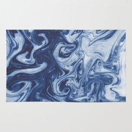 Yutaka - spilled ink marbled paper marbling swirl india ink minimal modern blue indigo pattern Rug