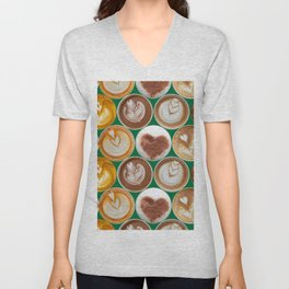 Latte Polka Dots in Winter Green Unisex V-Neck