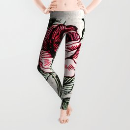 Shabby chic vintage rose and calligraphy Leggings