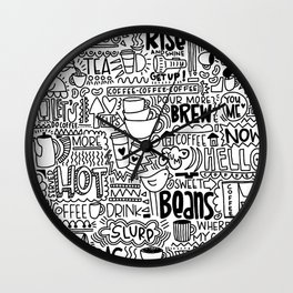 Coffee Lovers Hand-drawn Illustration Wall Clock