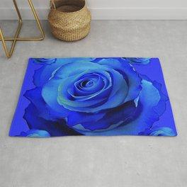 BLUE ROSES & BLUE  MODERN ART CONCEPT Rug
