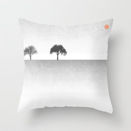 Tree Artwork Grey And Black Landscape Throw Pillow
