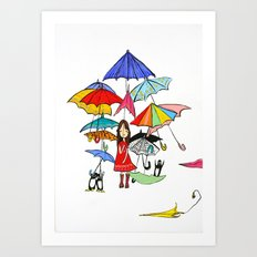 NYC Rain with Penguins Art Print