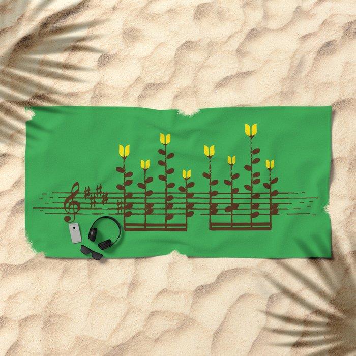 Music notes garden Beach Towel