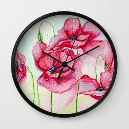 Poppies dance Wall Clock