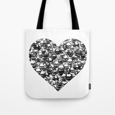 Skull Black Heart Tote Bag