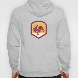 Rooster Cockerel Crowing Side Woodcut Shield Hoody