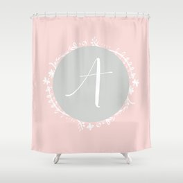 Garland Initial A - Grey Shower Curtain