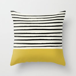 Mustard Yellow & Stripes Throw Pillow