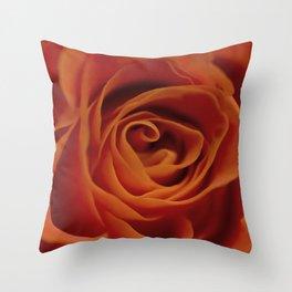 Orange rose closeup Throw Pillow