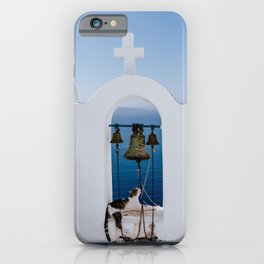 Greece church bell with white cross and blue sea phoograpy iPhone Case