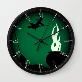 Halloween Witch Poster Background Wall Clock