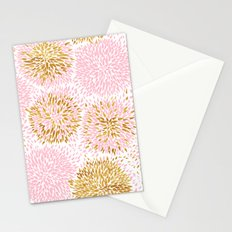 Abstract flowers pink and gold Stationery Cards