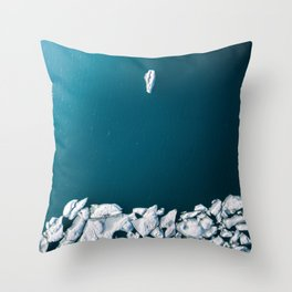 Minimalist Ice Bergs in the blue Ocean - Aerial Photography Throw Pillow