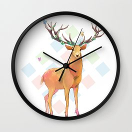 Deer and Diamonds Wall Clock