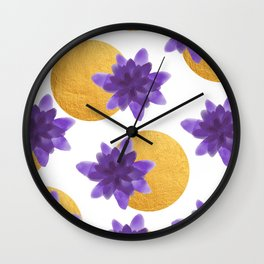 Reassurance // Violet Watercolor Flowers and Gold Spots Wall Clock