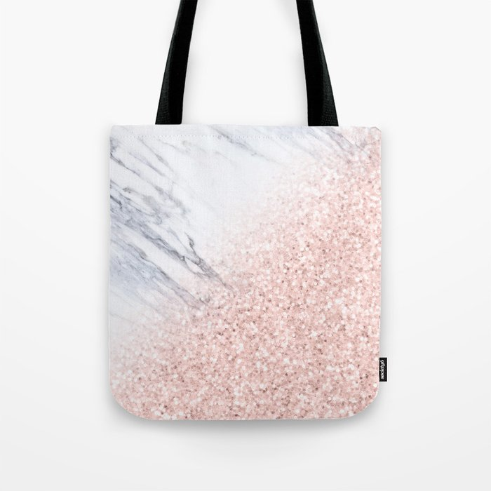 She Sparkles Rose Gold Pink Marble Luxe Geometric Tote Bag