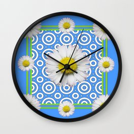 Baby Blue Modern Deco Style Shasta Daisies Art Wall Clock