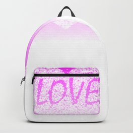 Pink Ombre Love in White Confetti Heart Backpack