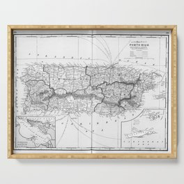 Vintage Map of Puerto Rico (1901) BW Serving Tray
