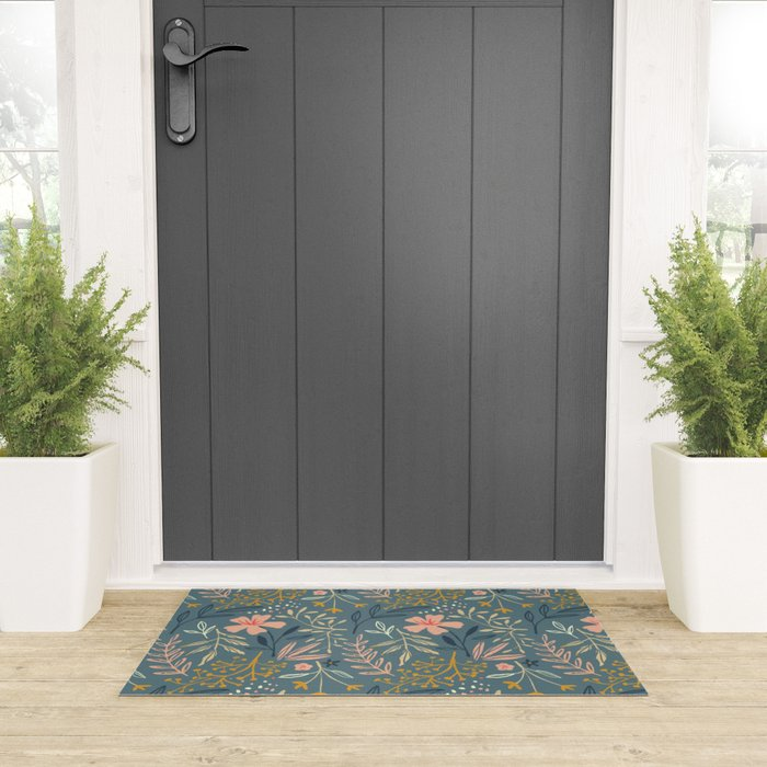 Floral Pattern Welcome Mat