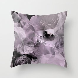 Floating Roses & Clouds Throw Pillow