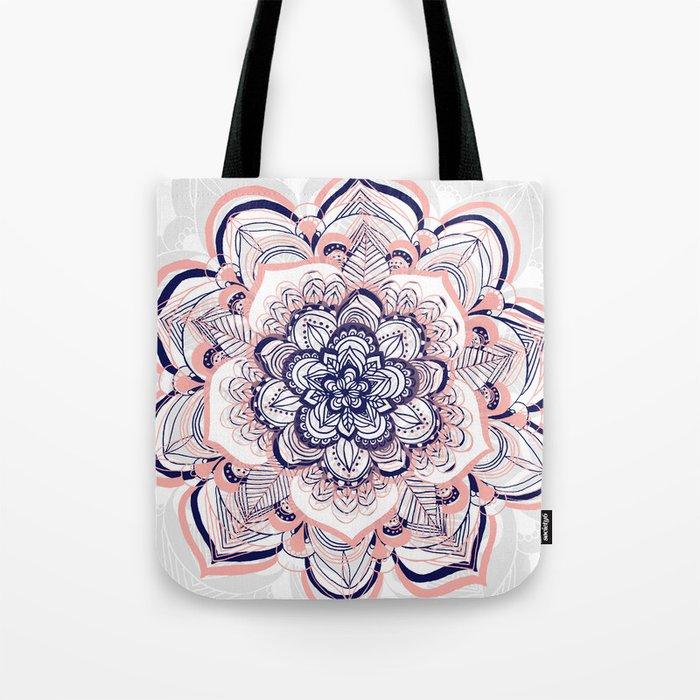 Woven Dream - Pink, Navy & White Mandala Tote Bag