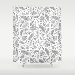 Tropical Leaves in Black and White Shower Curtain