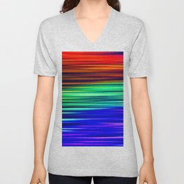 Rainbow Christmas Lights Light Painting Unisex V-Neck