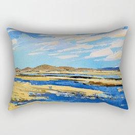 The Landscape, Water, Blue, Painting, Acrylic, Art. Vintage. Retro. Illustration.  Rectangular Pillow