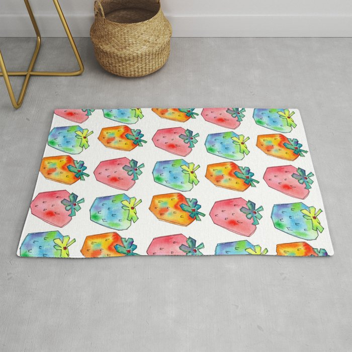 Difference Is Not Wrong Watercolor Painting Strawberry Ilration Fruits Nursery Kitchen Rug By Lennaarty
