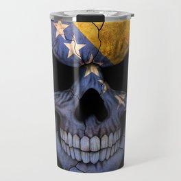 Dark Skull with Flag of Bosnia and Herzegovina Travel Mug