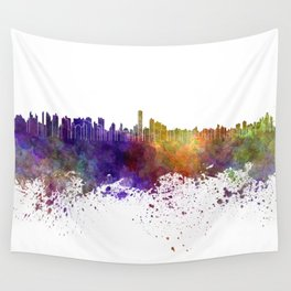 Asuncion skyline in watercolor background Wall Tapestry